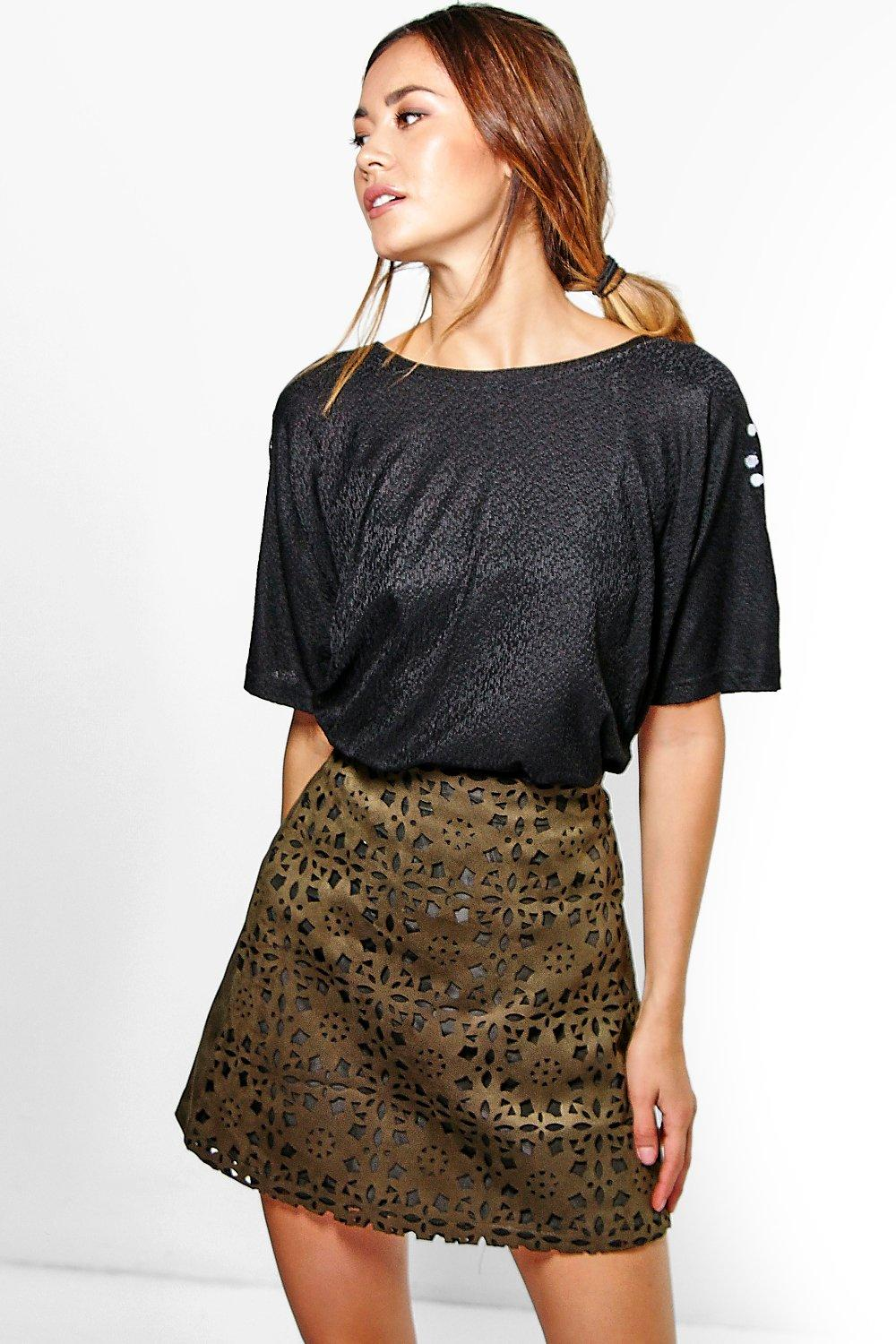 Orla Cutwork Bonded Suedette A Line Mini Skirt