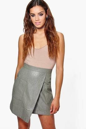 Lua Leather Look Asymetric Midi Skirt