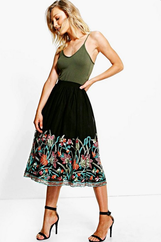 Boutique Paola Embroidered Hem Tulle Midi Skirt