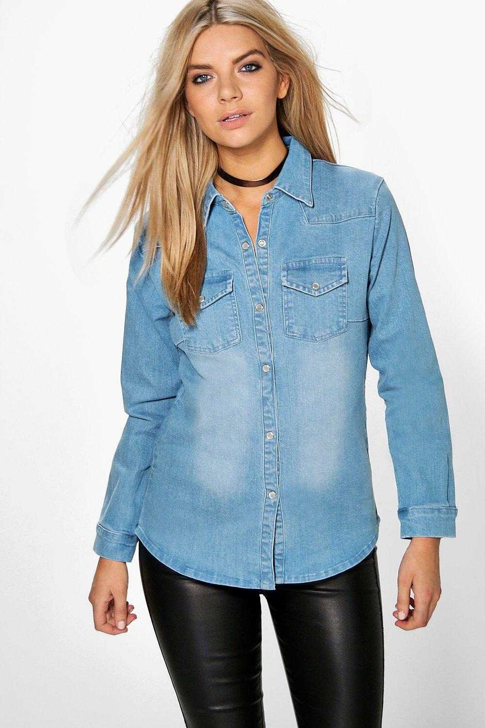 Phoebe Stretch Slim Fit Denim Shirt