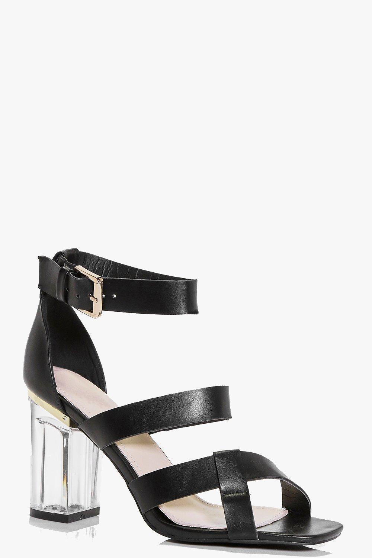 boohoo Clear Heel Multi Strap Sandal - black