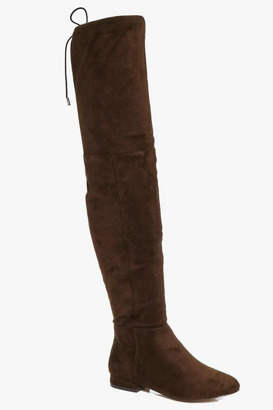 Lois Wide Fit Flat Thigh High Tie Back Boots