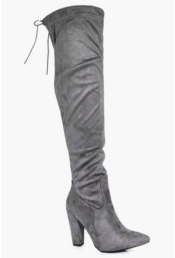 Tia Wide Fit Over The Knee Block Heel Boot