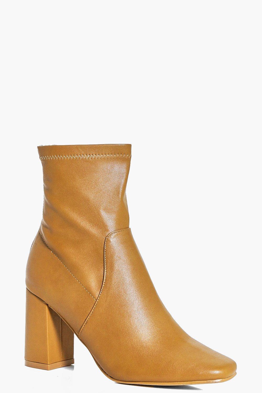 Bella Wide Fit Block Heel Sock Boot