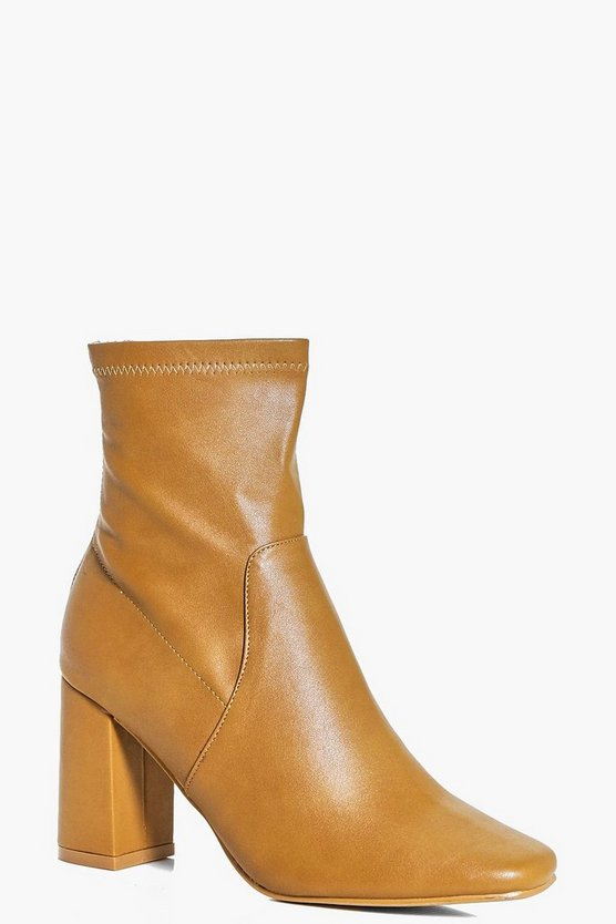 Bella Wide Fit Block Heel Sock Boot