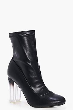 Heidi Wide Fit Clear Heel Sock Boot