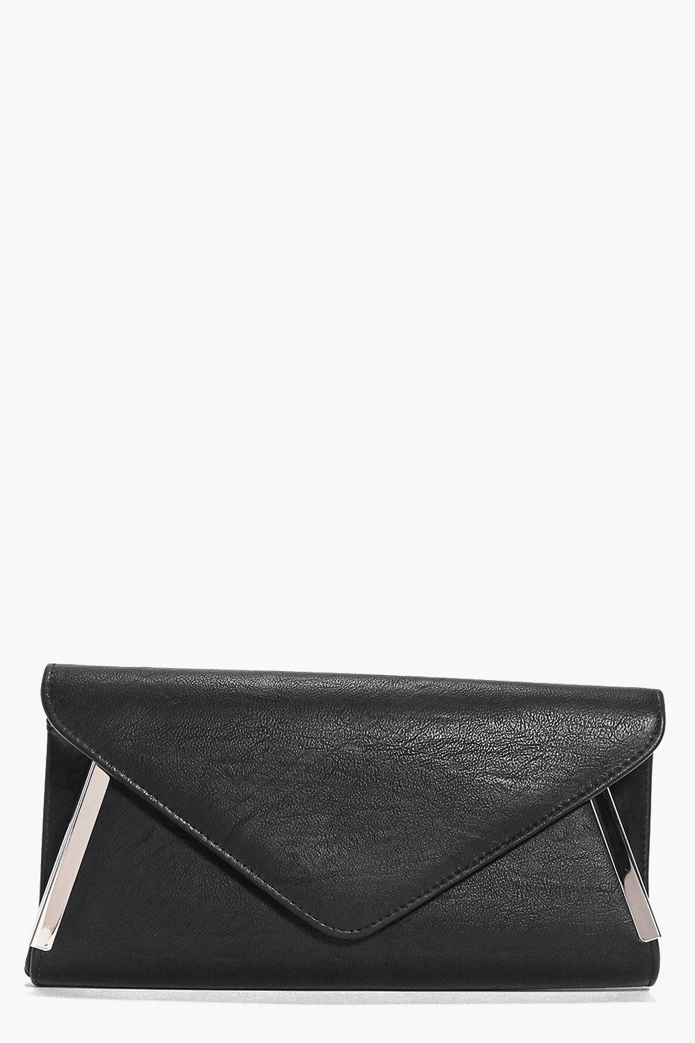 Metal Detail Envelope Clutch Bag black
