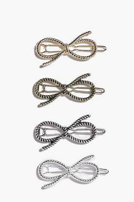 Maria Textured Bow Clip 4 Pack