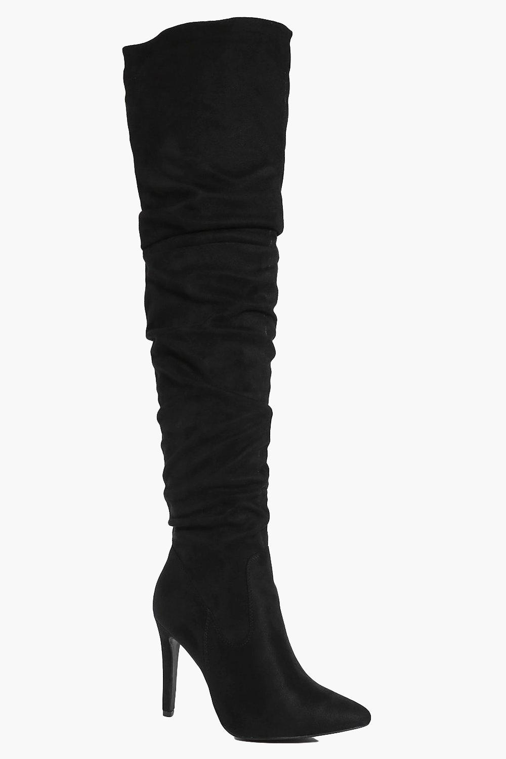 boohoo Ruched Pointed Over The Knee Boot - black