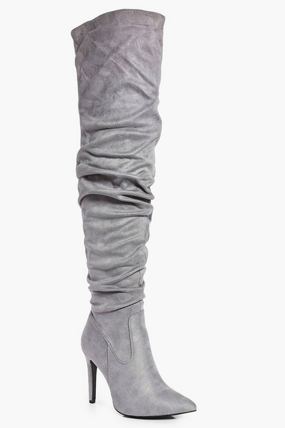 Rose Ruched Pointed Over The Knee Boot