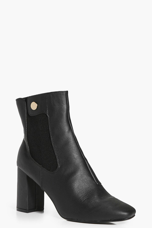 block heel elastic insert sock boot boohoo