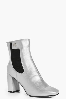 Julia Elastic Gusset Block Heel Sock Boot