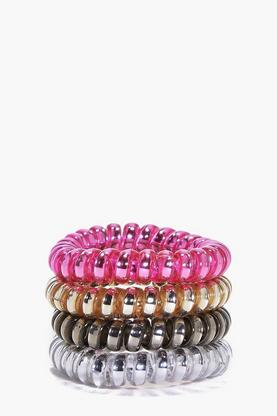 Melanie Metallic Jelly Hair Tie 4 Pack