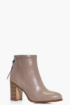 Rachel Wood Effect Block Heel Boot