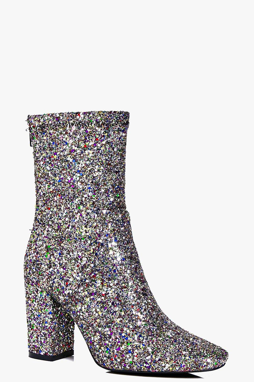Scarlet Multi Glitter Block Heel Sock Boot