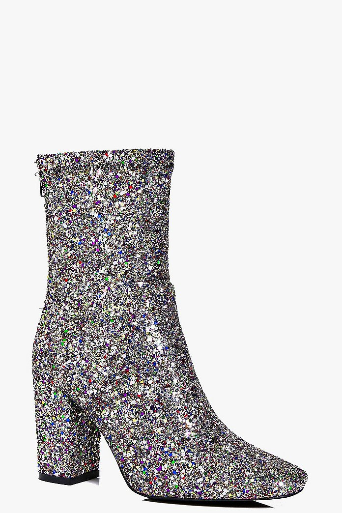 Scarlet Multi Glitter Block Heel Sock Boot