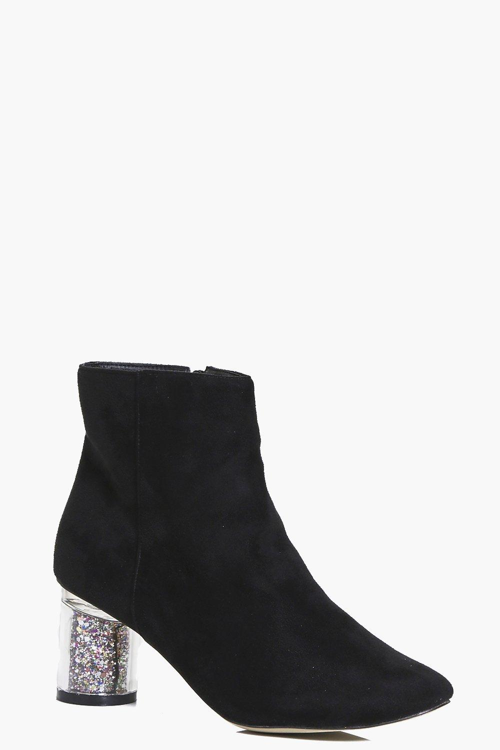 Clear Glitter Heel Ankle Boot black