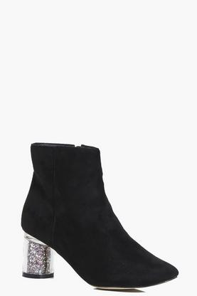 Annie Clear Glitter Heel Ankle Boot