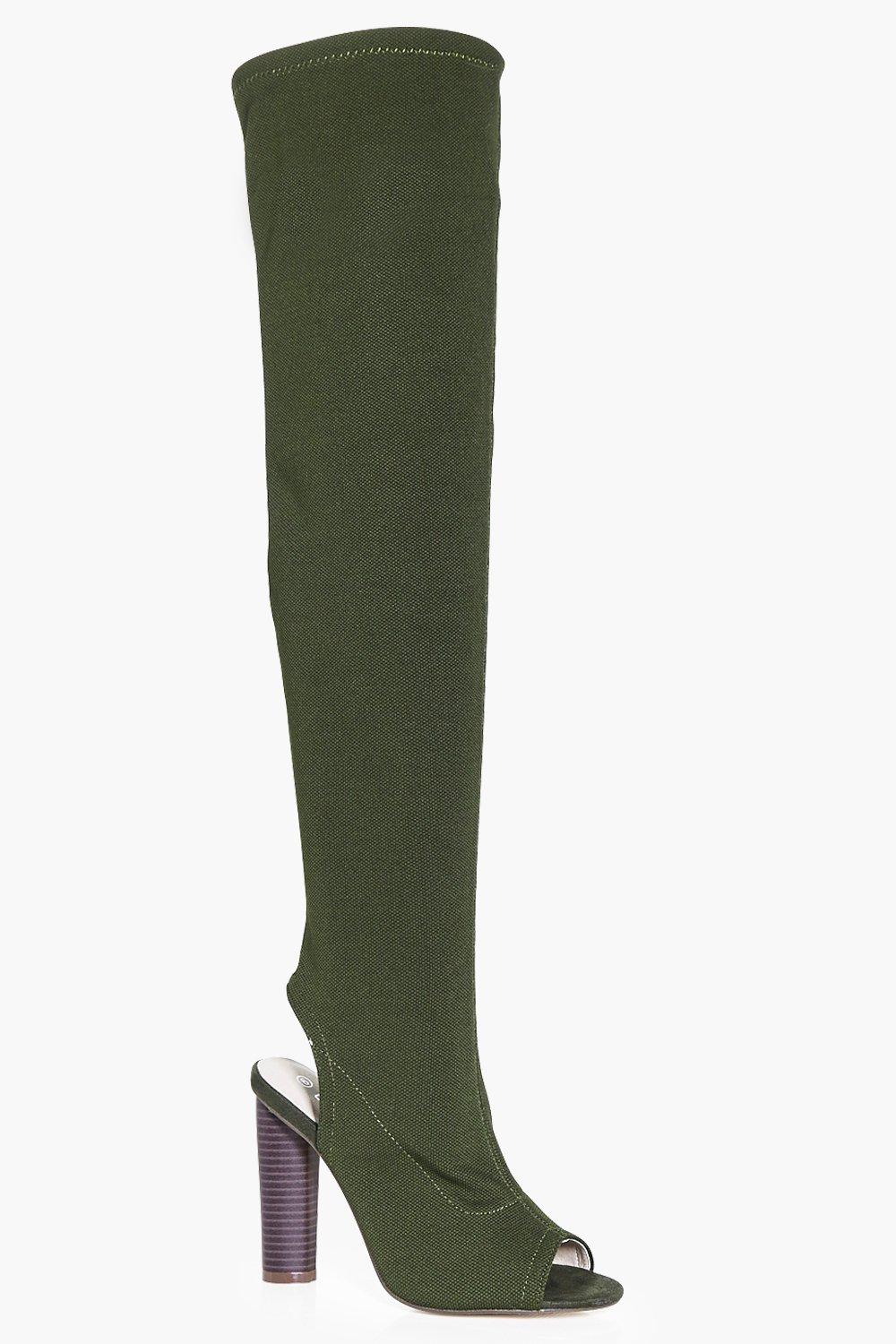 Lena Knitted Peeptoe Over The Knee Boot