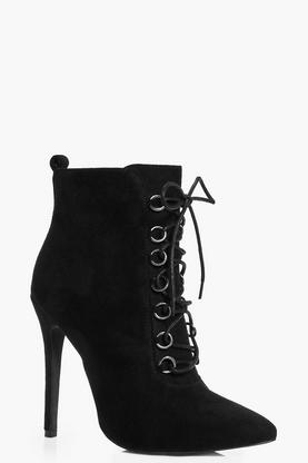 Jemima Lace Up Pointed Toe Shoe Boot