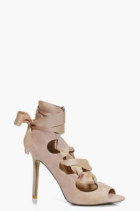 Marnie Ribbon Lace Up Peeptoe Courts