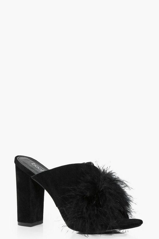 Liv Feather Trim Cross Front Mule