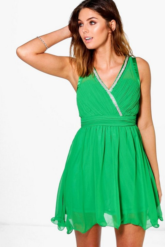 Victoria Diamante Trim Skater Dress