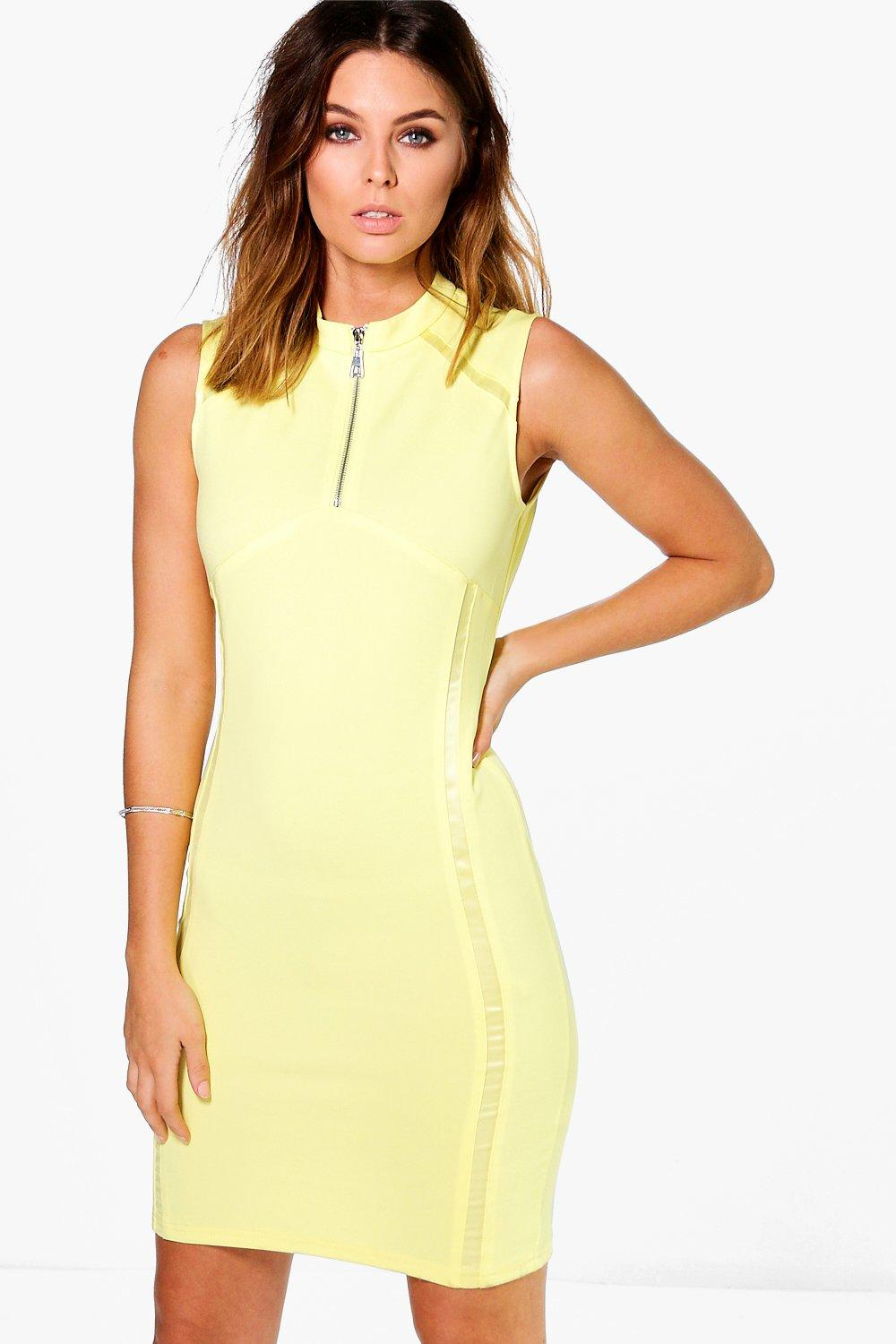 Libby Zip Detail High Neck Bodycon Dress