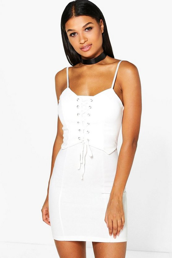 Mia Strappy Eyelet Bodycon Mini Dress