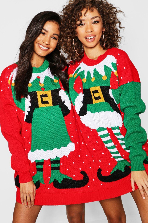 "Womens ""Mr & Mrs Elf"" Weihnachtspullover - Mehrfarbig - One Size, Mehrfarbig - Boohoo.com"
