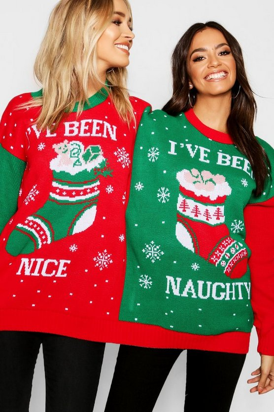 Skye Naughty & Nice Twin Christmas Jumper