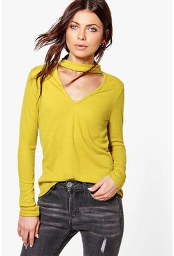 Martha Soft Rib Knit Choker Jumper