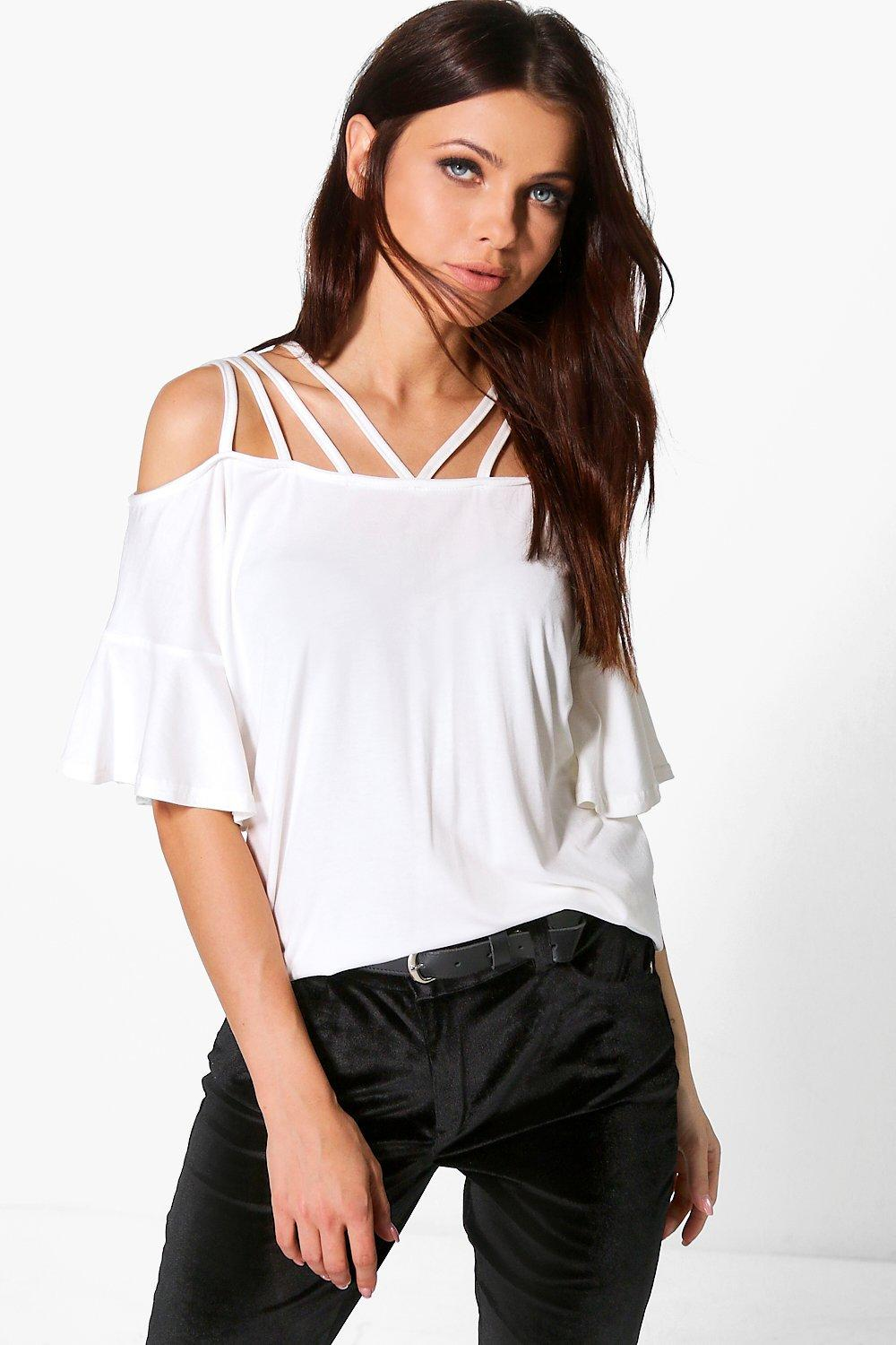 Emma Strappy Neck Flare Sleeve Top