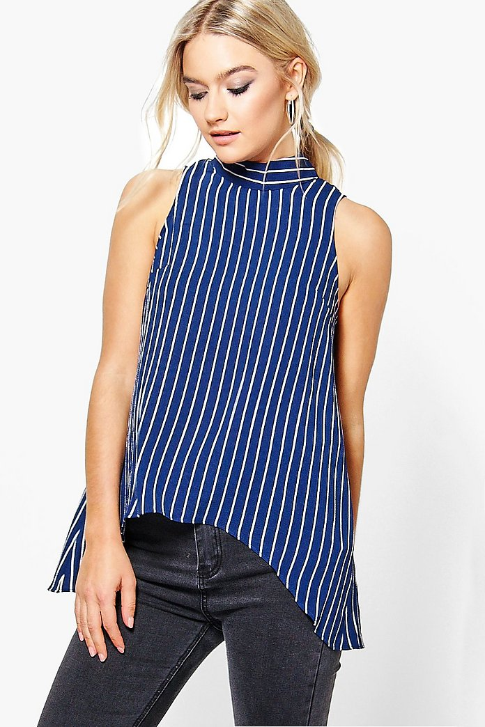 Mia Stripe Woven High Neck Top