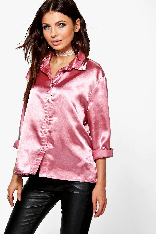 Boohoo womens imogen boxy satin shirt ebay for Women s sunscreen shirts