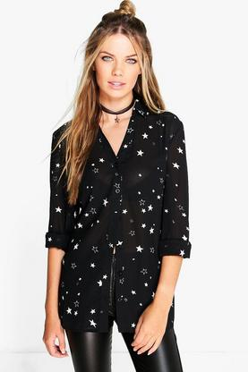 Amy Star Print Rever Collar Shirt