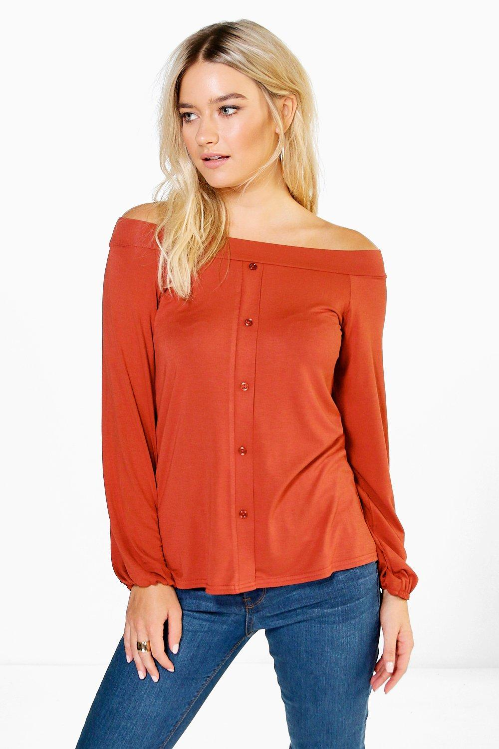 Enya Button Detail Bardot Top