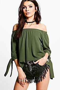 Erin Woven Tie Sleeve Off The Shoulder Top