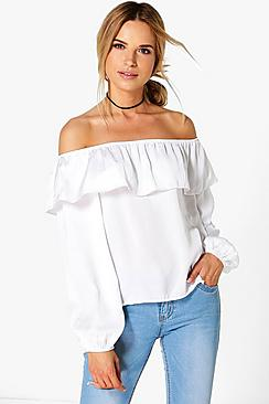 Leah Woven Off The Shoulder Frill Top