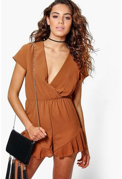Sally Ruffle Hem Wrap Front Playsuit