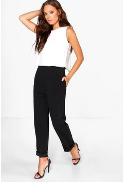 Mia Cross Back Double Layer Jumpsuit