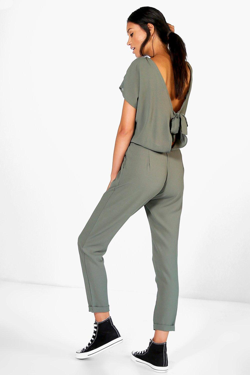 Capped Sleeve Relaxed Fit Tie Back Jumpsuit  khaki
