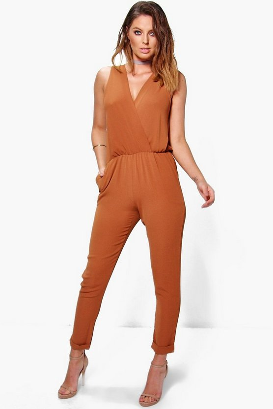 Hannah Plunge Wrap Over Jumpsuit