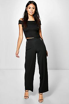 Tilli Zip Detail Wide Leg Trousers