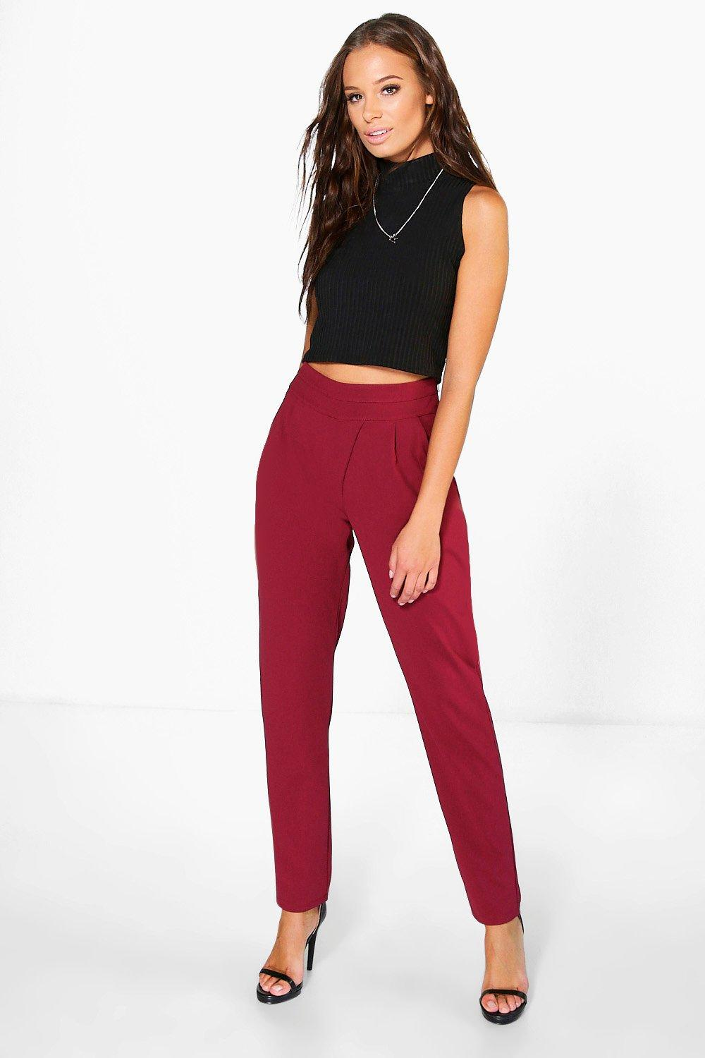Wrap Over Woven Slim Fit Trousers berry