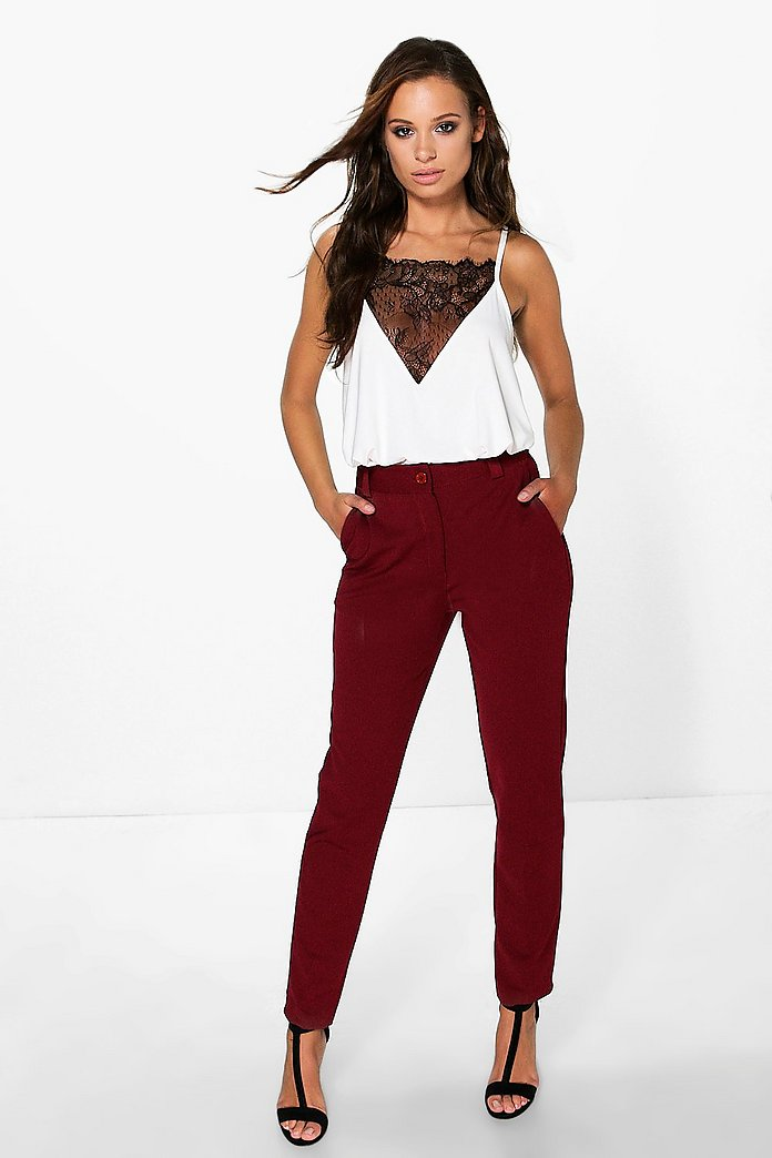 Tamela Slim Leg Tailored Woven Trousers