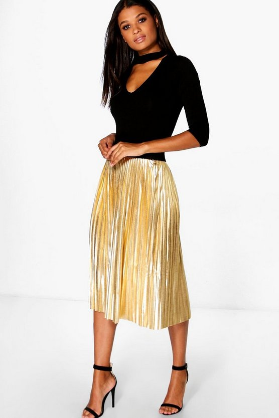 Jeana Metallic Pleated Midi Skirt