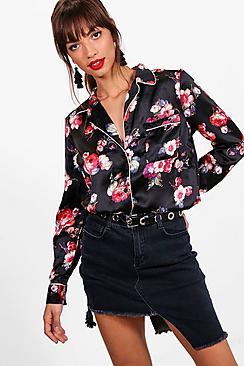 Emma Hemd mit Nachthemd aus Webmaterial mit Blumen-Print - Boohoo.com