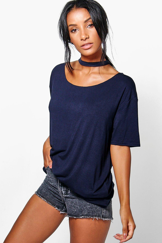 Boohoo womens tara raw edge choker style ss t shirt ebay for Raw edge t shirt women s