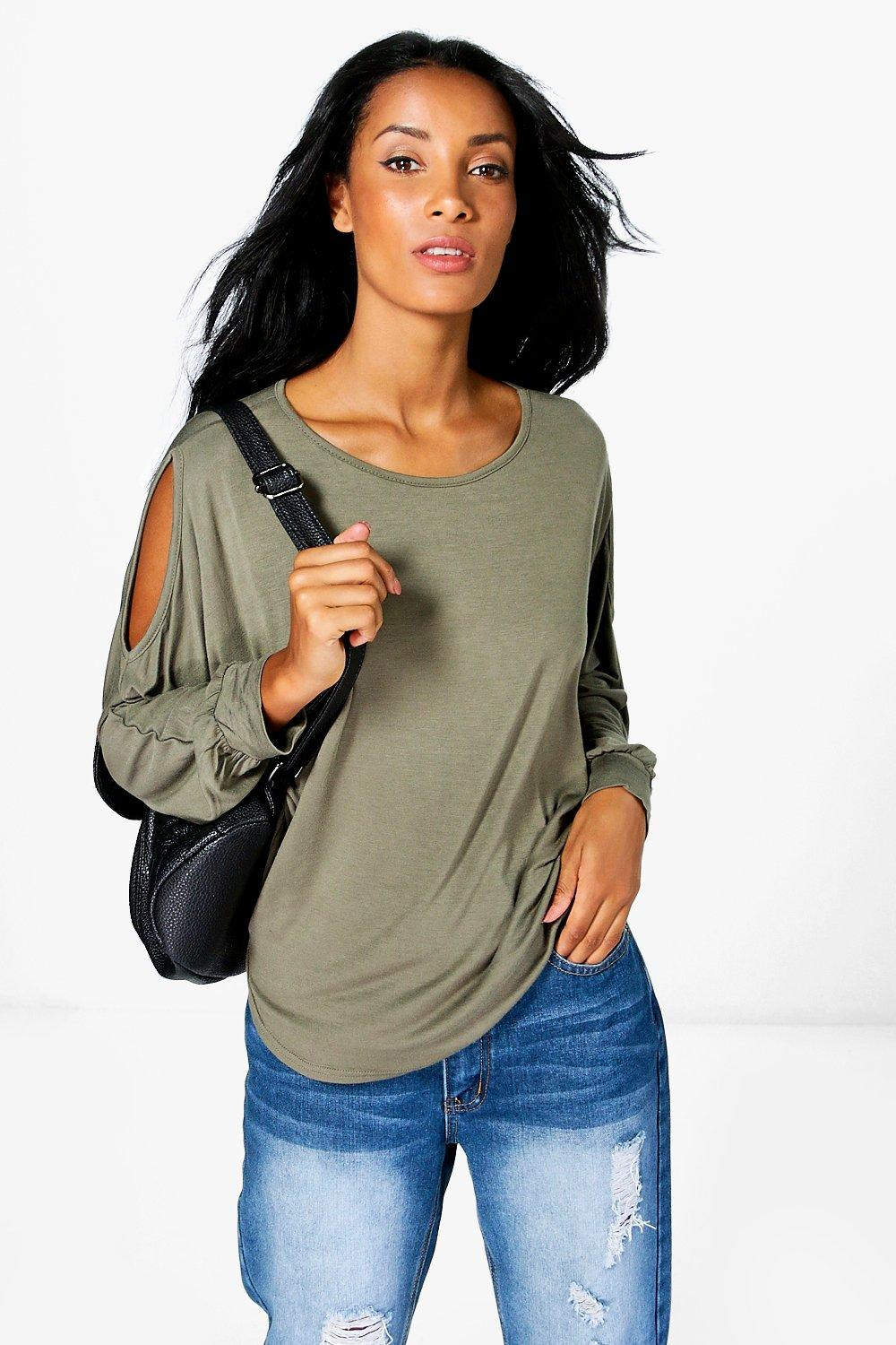 Emma Cold Shoulder Dipped Hem Top